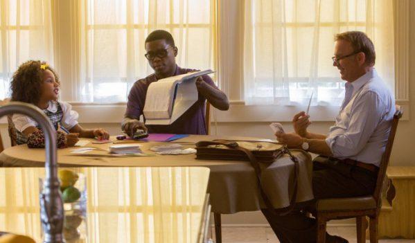 Jillian Estell, Mpho Koaho and Kevin Costner star in Relativity Medias's BLACK OR WHITE. © 2014 BLACKWHITE, LLC Photo Credit: Tracey Bennett